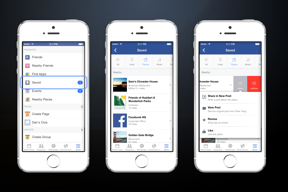 Facebook botón 'guardar'