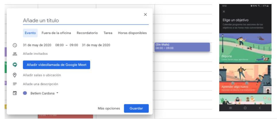 Google Calendar: eventos, alertas, recordatorios y objetivos