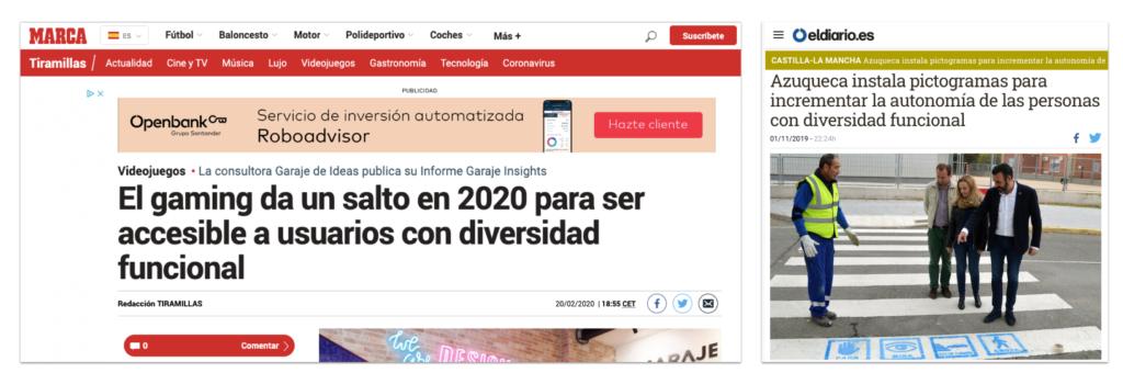 Dos noticias de Marca y eldiario.es hablando sobre diversidad funcional