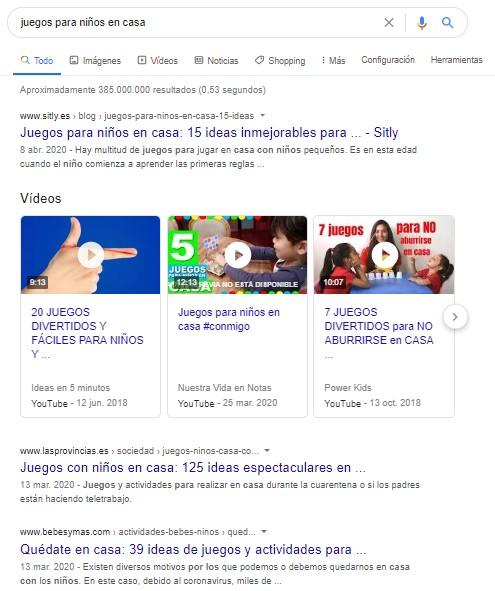 """Página de resultados de Google para la búsqueda """"juegos para niños en casa"""""""