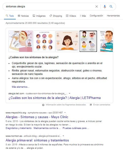 """Página de resultados de Google para la búsqueda """"síntomas alergia"""""""