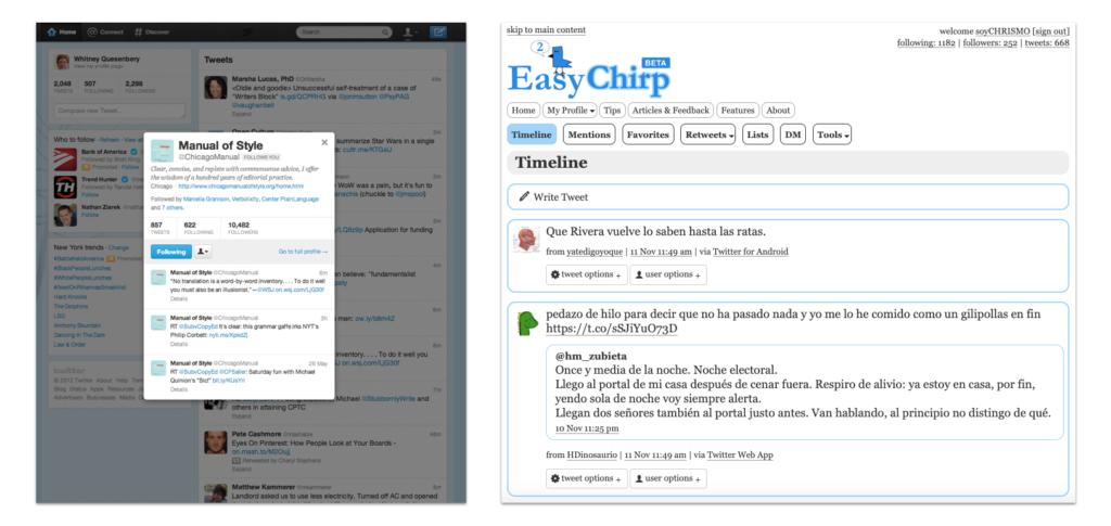 Una captura de pantalla twitter en 2013 y otra de easychirp en 2019