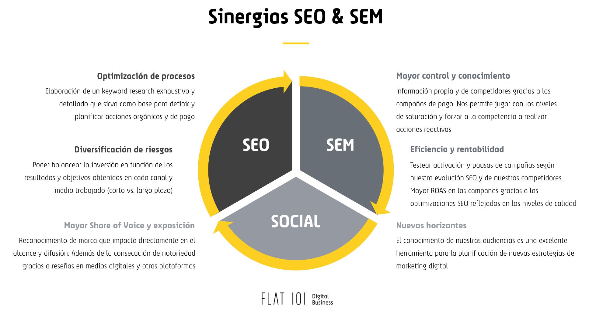 Infografía Sinergias SEO & SEM - Flat 101