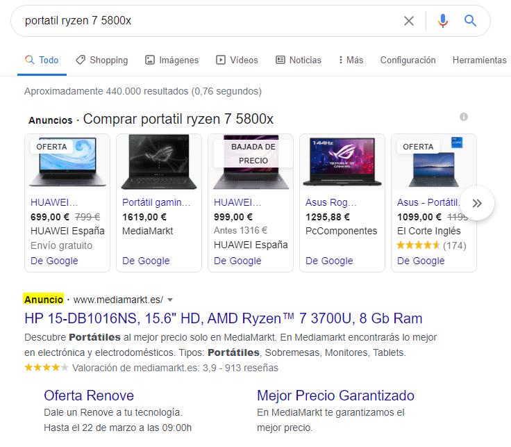 Ejemplo anuncio en formato DSA para Google Ads