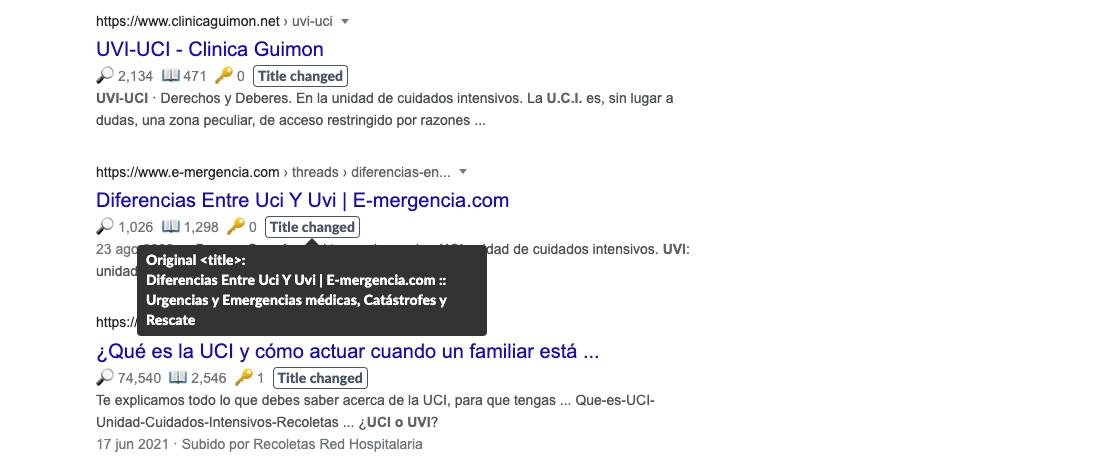 Títulos cambiados por Google en sus resultados de búsqueda